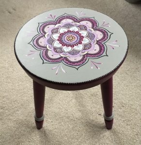 Stool with mandala design