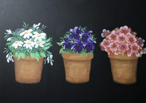 Painted flowers in pots