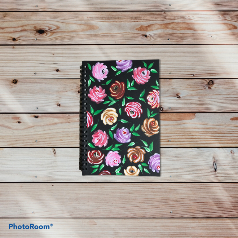 Image of Folk Art Roses on a notebook